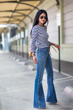 Flares and stripes: an adorable springtime outfit.