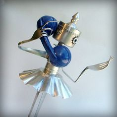 art sculpture metal assemblage robot ooak recycled art. 145.00, via Etsy.