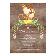 Rustic Safari Jungle Monkey Baby Shower Invitation - baby shower gifts  party giftidea