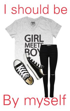 """I should be by myself"" by iamcece854 ❤ liked on Polyvore featuring Converse"