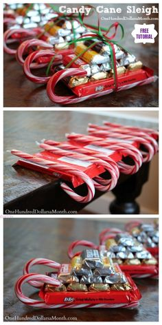 DIY Candy Cane Sleighs for Christmas Homemade Gifts DIY Candy Cane Sleighs Express Christmas Gifts Pack - Easy Tutorials Christmas Candy Crafts, Easy Homemade Christmas Gifts, Christmas Baskets, Christmas Goodies, Xmas Crafts, Homemade Gifts, Christmas Fun, Diy Gifts, Christmas Decorations