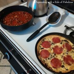 #cookingforone tip. Start with ingredients that can be split into two different dishes. Saves cooking time and adds variety.  Recipes for #SpaghettiSauce and #PizzaFrittata on the Organizing with a Side of Fabulous Blog. #cookingforonedoesnthavetosuck