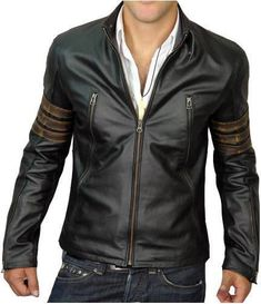 New Deluxe Men/'s Black Driver Race Biker Style Real Soft Lambskin Leather Jacket