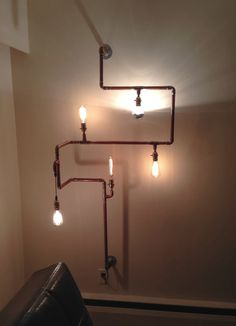 Copper Lamp structures by ProjectThisAndThat on Etsy Lighting Ideas, Track Lighting, Vanity Lamp, Copper Lamps, Diy And Crafts, Projects To Try, Delicate, Industrial, Ceiling Lights