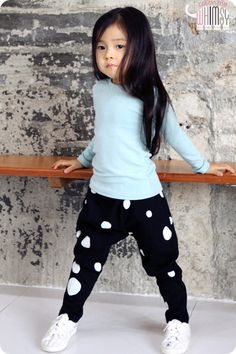 Dotted Slouchy Pants for boys and girls 2-6 at Color Me WHIMSY. Cool kids fashion, play ready style.