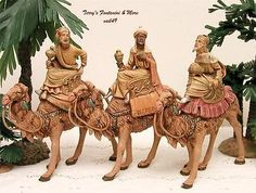 """FONTANINI DEPOSE ITALY EARLY 5"""" 3 KINGS ON CAMELS NATIVITY VILLAGE FIGURES 71514"""