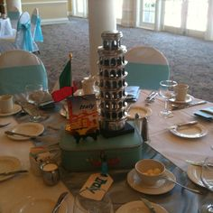 Italy centerpiece: HOMECOMING Sweet 16 Centerpieces, Wedding Centerpieces, Wedding Themes, Party Themes, Themed Parties, Wedding Ideas, Christening Table Decorations, Around The World Theme, Italian Party