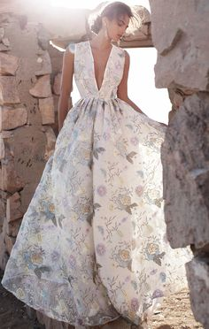 I normally don't like floral prints, but this formal gown is gorgeous.