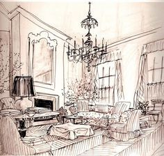 Albert Hadley Sketch  via