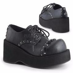 Demonia Dank-110 Goth Gothic Punk Black Platform Lace Up Shoes Studs Women 5-11
