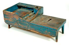 "COBBLER'S BENCH. American, 19th century, mixed woods. Typical form with two drawers and old blue paint. With tools.14.5""h. 41""l."