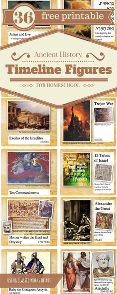 free printable timeline figures -- Each card has one key person and/or event with a classic image and details about both the event/person and the historical painting.