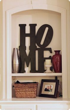 HOME word art inspired by pottery barn.if you like this & want it for your mantle, all we need is wooden letters from Michaels, paint color of your choice & a glue gun.