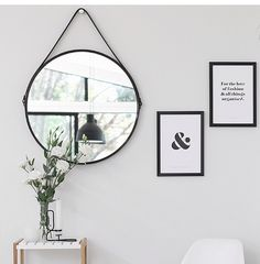 black round mirror with leather strap Rope Mirror, Kmart Bathroom, Hallway Mirror, Black Round Mirror, Round Mirrors, Round Mirror With Rope, Round Hanging Mirror, Mirrors With Leather Straps, Decoration Home