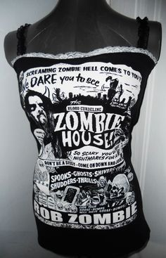 DIY reconstructed ladies/womens ROB ZOMBIE heavy metal horror band tank top. Ladies size Xs through L. $28