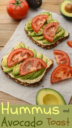Lately I've been diggin' this vegan Hummus and Avocado Toast as a super simple lunch/breakfast. It's made with my healthy, homemade, lemon-garlic hummus and topped with fresh, ripe avocado. Replace with cauliflower bread or sweet potato toast Lunch Snacks, Clean Eating Snacks, Healthy Snacks, Healthy Eating, Dinner Healthy, Healthy Cooking, Avocado Toast, Ripe Avocado, Avocado Hummus