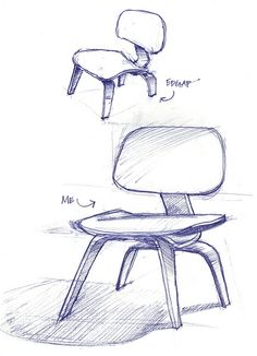 Industrial design style chair drawing