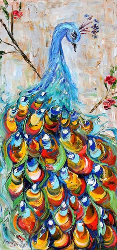 Original oil Peacock Bird palette knife painting by Karensfineart