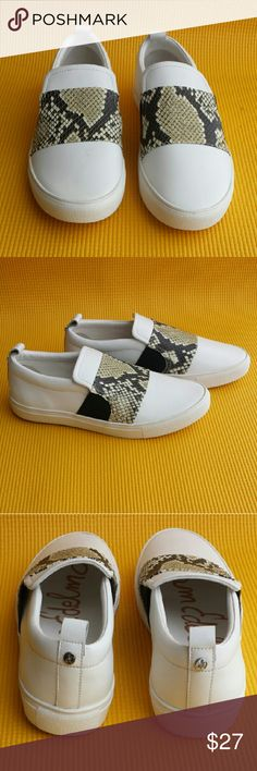 Sam Edelman Sneakers NEW SAM EDELMAN SAMPLE SNEAKERS UPPER- ACTION LEATHER  COLOR- WHITE/SNAKESKIN  LINING- PIG PU SOCK- PIG PU SOLE- MOLD SIZE- 6 Sam Edelman Shoes Sneakers