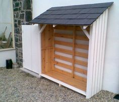 White-Slate-Log-Store … - Garden Shed Backyard Sheds, Outdoor Sheds, Backyard Landscaping, Backyard Storage Sheds, Firewood Shed, Firewood Storage, Garden Tool Storage, Shed Storage, Storing Garden Tools