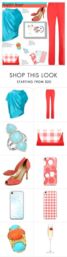 """Happy Hour"" by atelier-briella ❤ liked on Polyvore featuring Lanvin, Victoria, Victoria Beckham, BaubleBar, Jean-Michel Cazabat, LSA International, coral, Clutch, iPhonecases and happyhour"