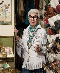 Iris Apfel, interrior designer,fashion icon and the most bold old lady with colorful taste.