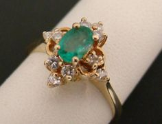 14K YELLOW GOLD RING OVAL NATURAL 1/2 CT EMERALD 1/3 CT TW DIAMOND 3.1g SIZE 6.5 #Cluster