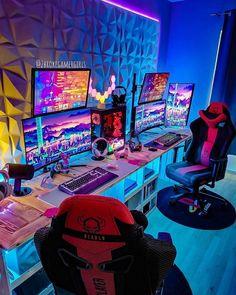 Best Gaming Setup, Gaming Room Setup, Gamer Setup, Office Setup, Pc Setup, Office Ideas, Computer Desk Setup, Game Wallpaper Iphone, Bedroom Setup
