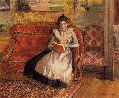 Camille Pissarro - Paris, França (1897 - 1902) - netmundi.org Camille Pissarro Paintings, Pissaro Paintings, French Impressionist Painters, Maurice Denis, Gustave Courbet, Woman Reading, Reading Art, Reading Books, Reading People