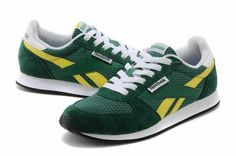 Reebok Leather NX Low Cut Mens Green Yellow - UK Nike Free Runs, Running Women, Reebok, Black Friday, Trainers, Yellow, Sneakers, Green, Leather
