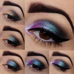 Tutoriales de maquillaje de noche. Ojos en color azul, morado y negro