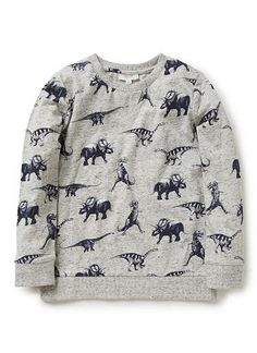 100% cotton jersey long sleeve tee with all over dinosaur print and neckline insert
