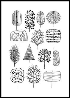 Trees Poster in der Gruppe Poster / Größen und Formate / bei Desenio A. Trees poster in the group posters / sizes and formats / at Desenio AB Doodle Drawing, Drawing Tips, Line Drawing, Groups Poster, Poster Sizes, Doodles, Mark Making, Malm, Line Art