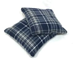 Navy Blue Plaid Rice Hand Warmers Reusable by DapperCatDesigns