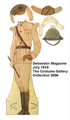 Soldiers of Three Wars and their Lasses  These paper dolls were originally printed in Delineator Magazine, July 1919