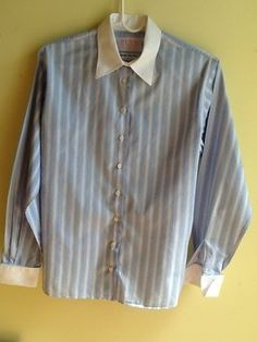 Thomas Pink Irish Cotton Top Blue and White Stripes with White Collar and Cuffs