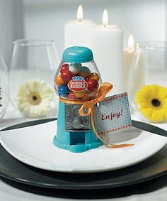 This Mini Classic Blue Gumball Dispenser is a great gift for the children in my wedding party!! SpecialtyRibbon.com