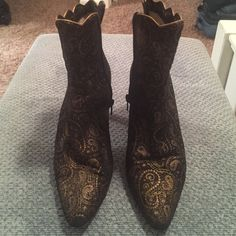 Boots Bally Italian suede side zip ankle boots. Black with gold paisley design. Around back of heel slightly discolored but not noticeable on. I get tons of compliments when I wear them, I just can't stuff my feet in them anymore. They are a size to small.  Size 7.5 Bally Shoes Ankle Boots & Booties