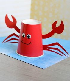 paper cup crab craft - ocean kid craft - crafts for kids- kid crafts - acraftylife.com #preschool