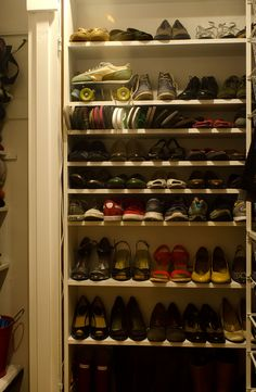 Amy and Christian's Newlywed Home Basement Closet, Shoe Closet, Nest Building, Interior Design Website, Shoe Storage, First Home, Newlyweds, Getting Organized, Christianity
