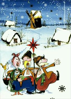 Ukrainian Christmas card Christmas Carol, Christmas Fun, Serbian Christmas, Just Magic, Ukrainian Art, Cute Illustration, Winter Holidays, Vintage Children, Illustrations Posters
