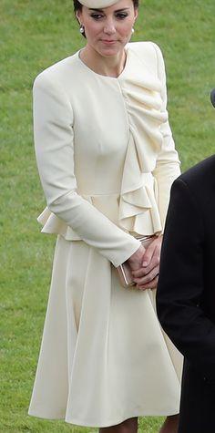 Alexander McQueen Cream Ruffle Coat Dress -WORN ♛ 5/24/16 HM's Garden Party ♛ 10/23/13Christening of HRH Prince George of Cambridge