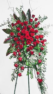 Red Rose Easel Spray by Anaheim Florist Funeral Spray Flowers, Funeral Sprays, Funeral Floral Arrangements, Large Flower Arrangements, Exotic Flowers, Beautiful Flowers, Funeral Caskets, Casket Flowers, Memorial Flowers