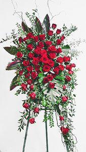Red Rose Easel Spray by Anaheim Florist Funeral Floral Arrangements, Large Flower Arrangements, Church Flowers, Funeral Flowers, Exotic Flowers, Beautiful Flowers, Casket Flowers, Funeral Sprays, Memorial Flowers