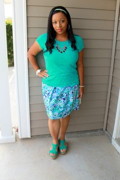 purple and teal pleated skirt with teallace top and teal wedges modest outfit idea