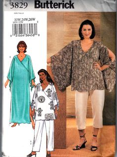 Butterick 3829 Womens Goddess Pants Pullover Top and Caftan Pattern Womens Sewing Pattern Size 22 - 26 Bust 44 - 48 Uncut Tunic Sewing Patterns, Plus Size Sewing Patterns, Clothing Patterns, Caftan Dress, Pants For Women, Clothes For Women, Petite Tops, Kimono Fashion, Diy Fashion