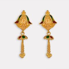 Discover wide range of collection of traditional gold earring at Waman Hari Pethe Sons. Gold Jhumka Earrings, Jewelry Design Earrings, Gold Earrings Designs, Gold Jewellery Design, Antique Earrings, Gold Jewelry, Beaded Jewelry, Gold Designs, India Jewelry