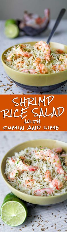 SHRIMP RICE SALAD with lime and cumin dressing - Shrimp rice salad is one of my preferred recipes for summertime. Rice pilaf tossed with steamed shrimp, fresh coriander and spices is a thing that remembers me seaside and vacation. This is the perfect reci Shrimp Recipes, Rice Recipes, Salad Recipes, Cooking Recipes, Healthy Recipes, Detox Recipes, Recipies, Steamed Shrimp, Shrimp And Rice