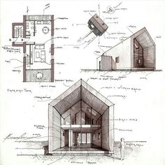 Image of: architecture house sketch building two bedroom one story house floor plans blueprints 3200 Architecture Design, Architecture Sketchbook, Architecture Student, Concept Architecture, Planer Layout, One Story Homes, House In The Woods, Floor Plans, Architectural Sketches