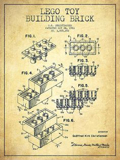 Lego Toy Building Brick Patent - Vintage Print By Aged Pixel